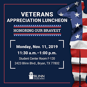 Blinn hosting celebratory luncheon and letter writing campaign to commemorate Veterans Day